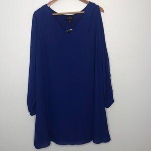 🌲Worthington blue V-neck open sleeve dress sz lg
